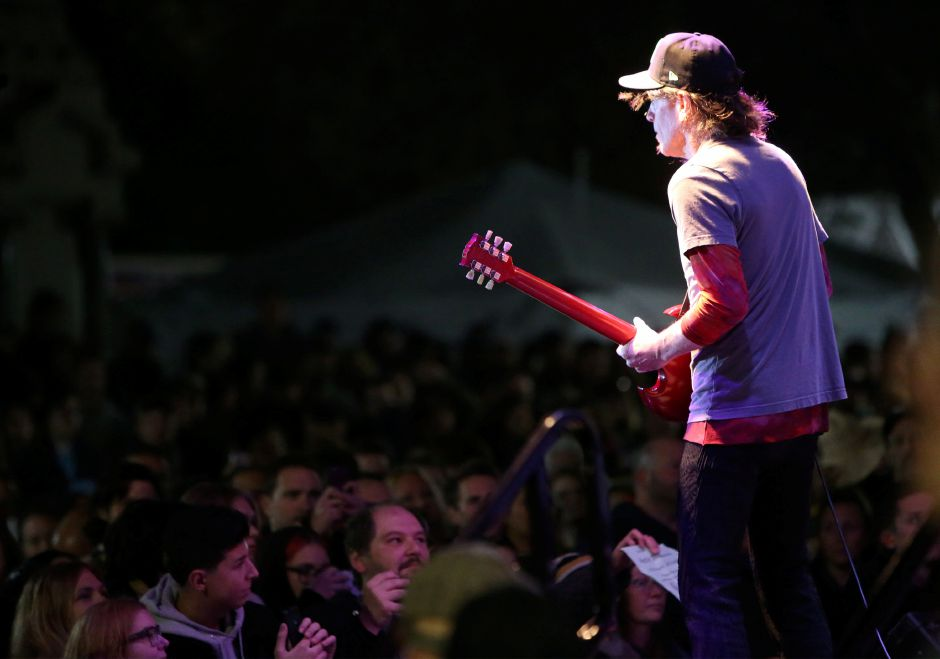 Spin Doctors guitarist Eric Schenkman entertains the crowd during the concert on the main stage at the annual Apple Harvest Festival in Southington on Saturday, Oct. 12, 2019. Emily J. Tilley, special to the Record-Journal.