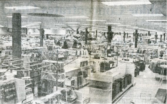 "November 1969: The interior of Caldor on the eve of its opening. The Morning Record included a spread over two pages of stories about the store, its personnel and goods for sale, described as ""handsomely displayed and attractively priced."" 