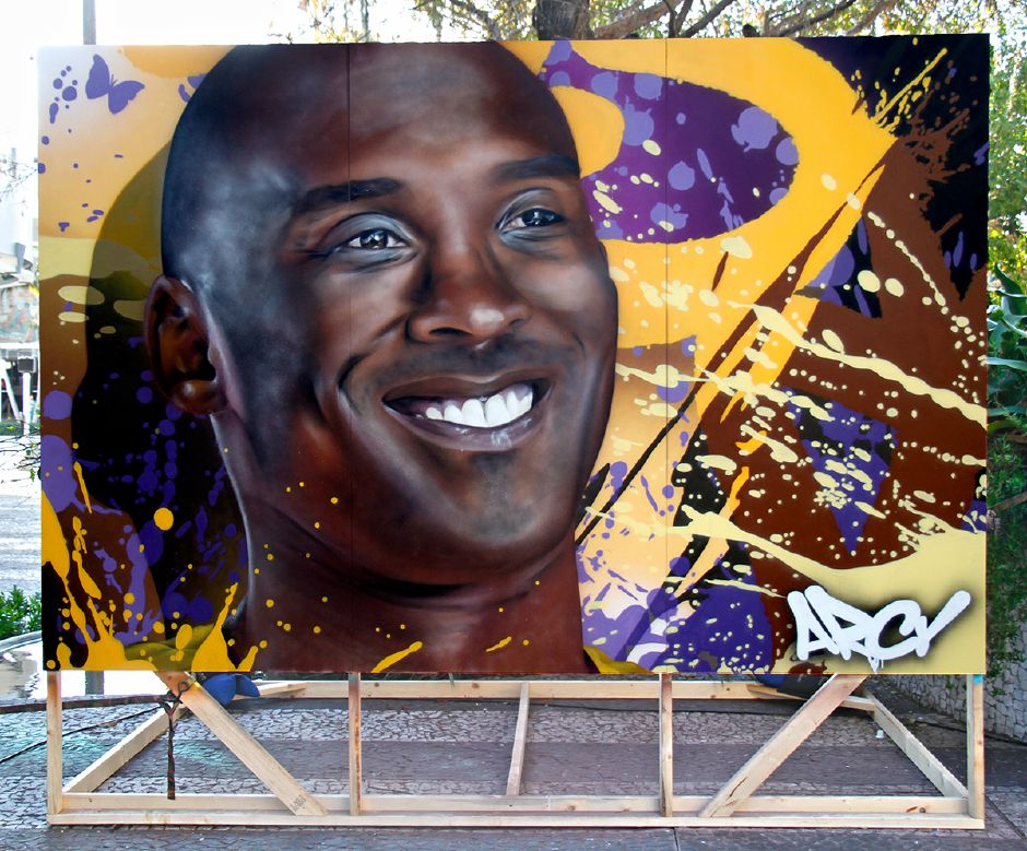 "A portrait painting of Kobe Bryant by Wallingford native artist ""ARCY"" who is in Miami Florida this week live painting leading up to the Superbowl this Sunday. 