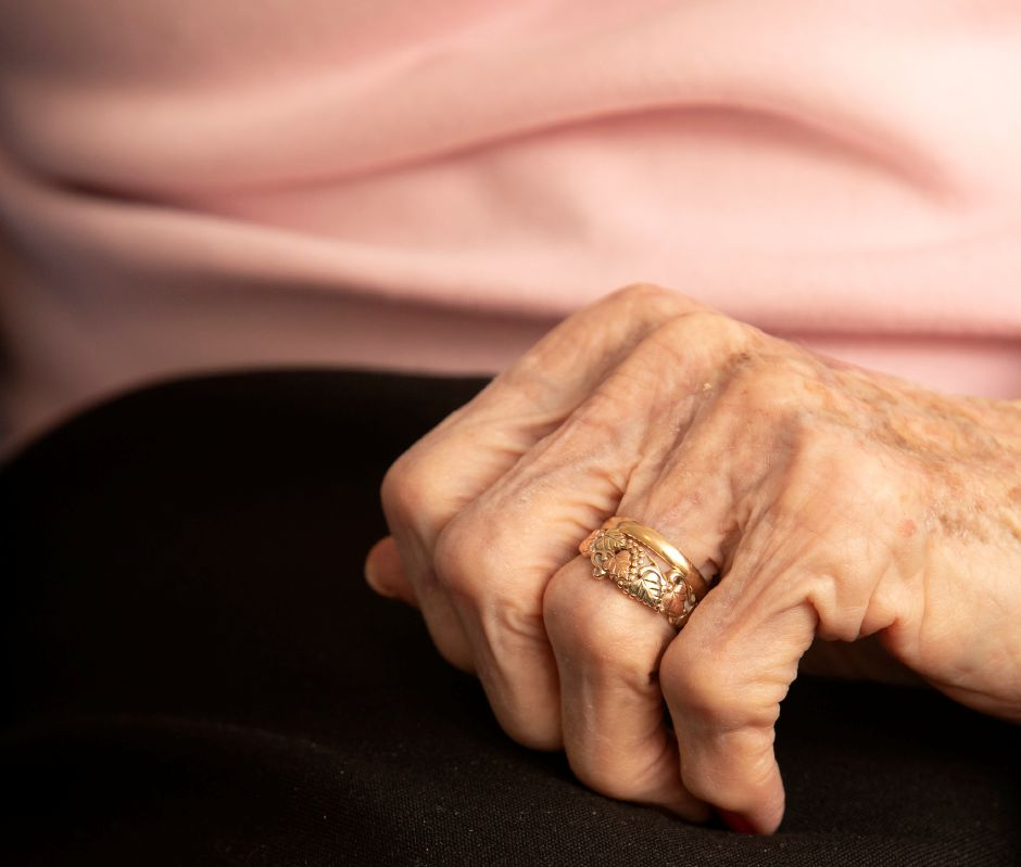 "Ruth Williams wears a wedding band she received for her 50th anniversary with husband Bob, Thurs., Feb. 13, 2020. Ruth and Bob ""Bus"" Williams celebrated their 75th wedding anniversary on Jan. 27. Dave Zajac, Record-Journal"