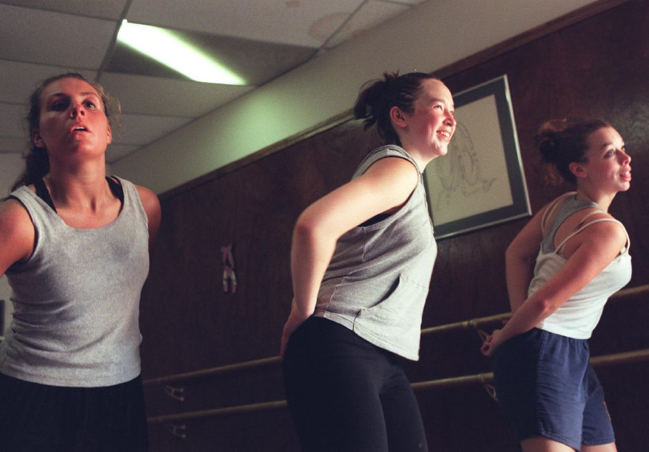 Shannon Lothrop, middle, a national dance champion rehearses at Jazz-N-Motion dance studio in Wallingford June 1, 2000 for her dance concert. Shannon will be attending the Air Force Academy this fall.