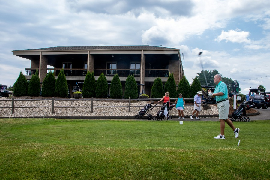 Peter Anop of Southington, watches his tee shot at the 10th hole on Friday, July 3, 2020. Peter remembers playing the course the first year it opened 50 years ago. At the time the course opened, the 10th hole used to be the first hole and the clubhouse was still under construction. Aaron Flaum, Record-Journal