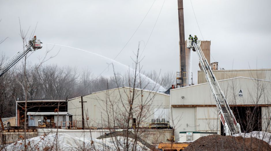 ​​​​​​​Firefighters responded to a fire on Dec. 31, 2019 at Clean Earth in Plainville, a soil treatment and recycling facility located at 58 N. Washington St. | Devin Leith-Yessian/Record-Journal