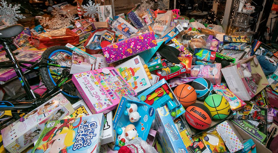 A large pile of donated toys during the annual Toys for Tots donation event at Gaetano's Tavern on Main, 40 N. Main St. in Wallingford, Thurs., Dec. 13, 2018. Dave Zajac, Record-Journal