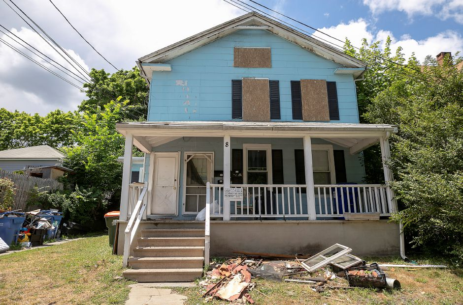 A boarded up residence at 8 Jackson St. in Meriden, Mon., Jun. 29, 2020. Eleven people remain displaced following a blaze at the home Sunday evening. Dave Zajac, Record-Journal