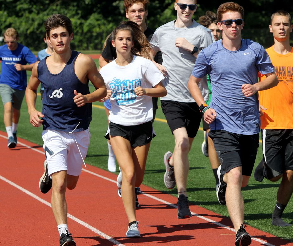 Aidan Weir, left, his sister Olivia Weir and Jack Murphy will lead the Lyman Hall pack for veteran coach Mike Addorisio in 2019. Murphy, a junior, is a returning All-Record-Journal runner. | Aaron Flaum, Record-Journal