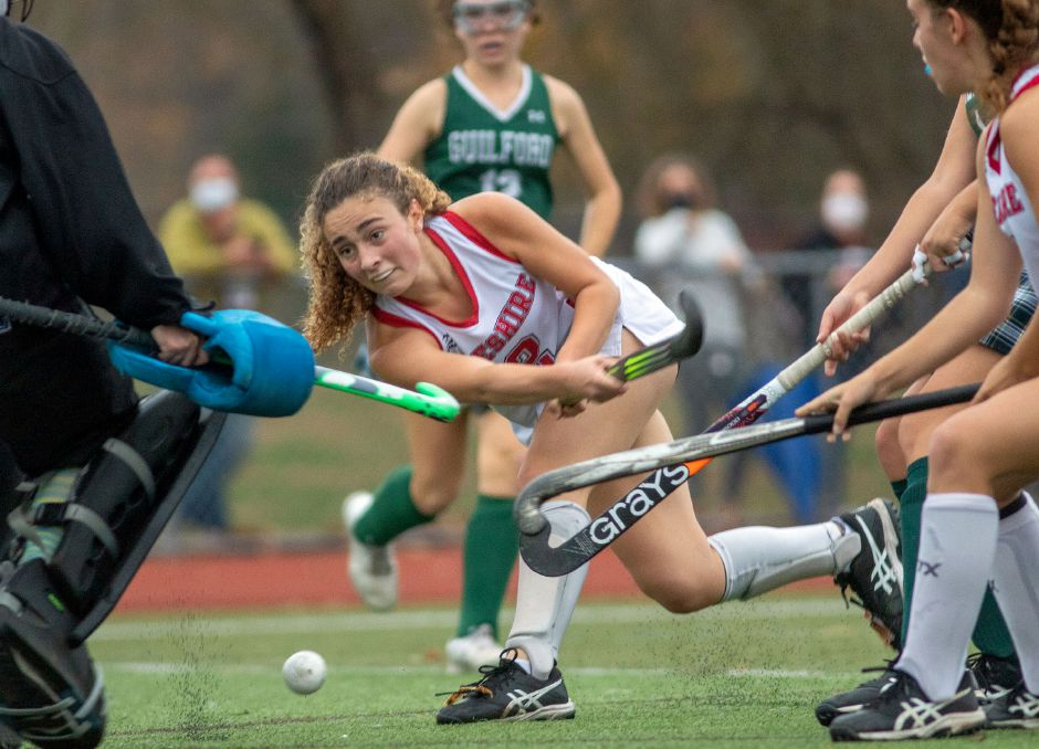 Sophia Vagts takes a shot against Guilford in the 2020 SCC Division A field hockey final. Vagts, one of Cheshire's leading scorers, will continue playing field hockey at Bryn Mawr College in Pennsylvania.