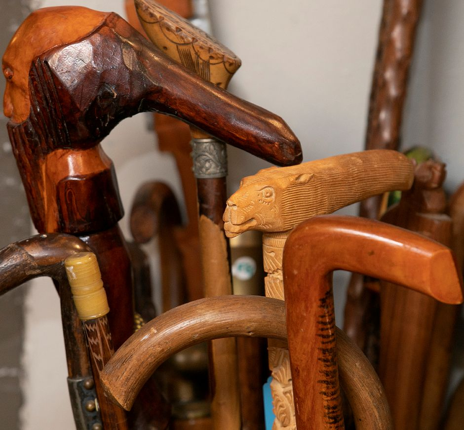 Hand carved walking canes for sale at La Vita Vintage, 774 S. Main St., Plantsville, Mon., Jan. 13, 2020. Shoppe owner Marcy Mongillo is closing the store after 22 years in downtown Southington and Plantsville. Dave Zajac, Record-Journal