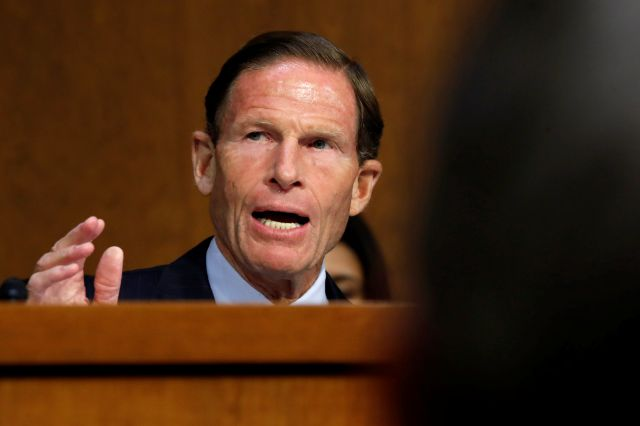 Sen. Richard Blumenthal, D-Conn., speaks during a Senate Judiciary Committee confirmation hearing for Supreme Court nominee Brett Kavanaugh, on Capitol Hill, Tuesday, Sept. 4, 2018, in Washington. (AP Photo/Jacquelyn Martin)