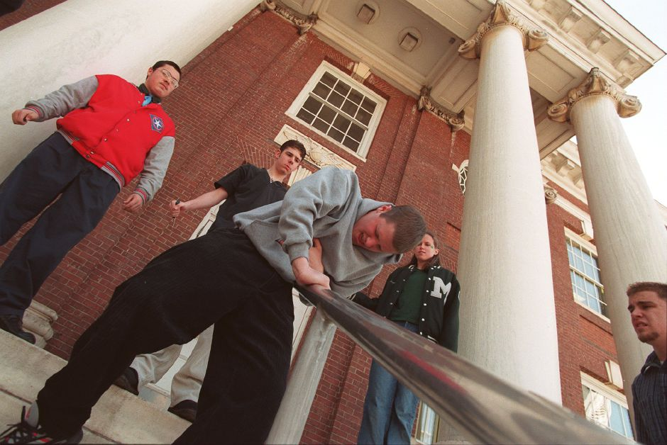 RJ file photo - Julius Caesar, played by Kevin Klakowski, staggers down the steps of Meriden
