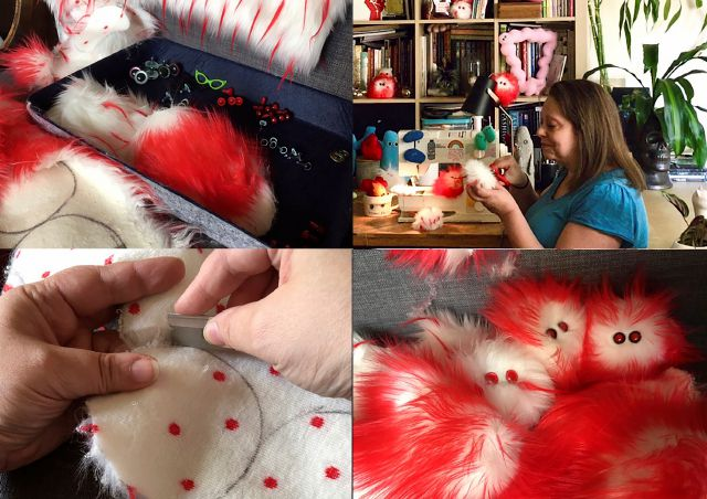 "This combination of photos taken on July 25, 2020 shows Amy Micallef making her craft creations at her home. While Broadway stages remain dark due to the pandemic, Broadway workers are concentrating on side hustles. Micallef, a Broadway seamstress who has worked in the wardrobe departments of ""Hamilton,"" ""Waitress"" and ""Frozen,"" makes gleeful representations of COVID-19 for sale, complete with a pair of eyes and faux fur. (Amy Micallef via AP)"