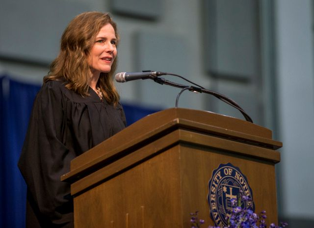 FILE - In this May 19, 2018, file photo, Amy Coney Barrett, United States Court of Appeals for the Seventh Circuit judge, speaks during the University of Notre Dame