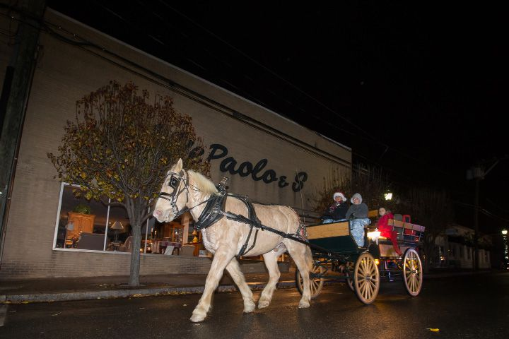 "FILE: Joyce Wood and Tyler Vincent, 12, of Wood Acres Farm drive a carriage on Center Street pulled by ""Tanner"" Friday during White Christmas in the Community in Southington Dec. 2, 2016 