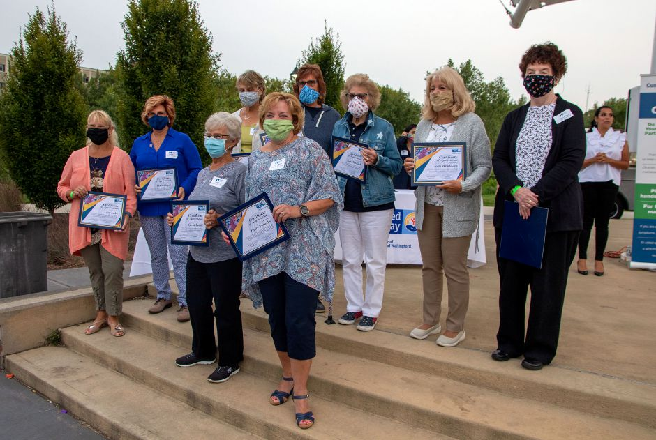 Sew United, a group of volunteers that made 1,500 masks for the community was recognized during the 2020-21 United Way of Meriden and Wallingford Award Ceremony and Community Campaign Kick-Off Event at the Meriden Green Amphitheater on Thursday, September 17, 2020. Aaron Flaum, Record-Journal