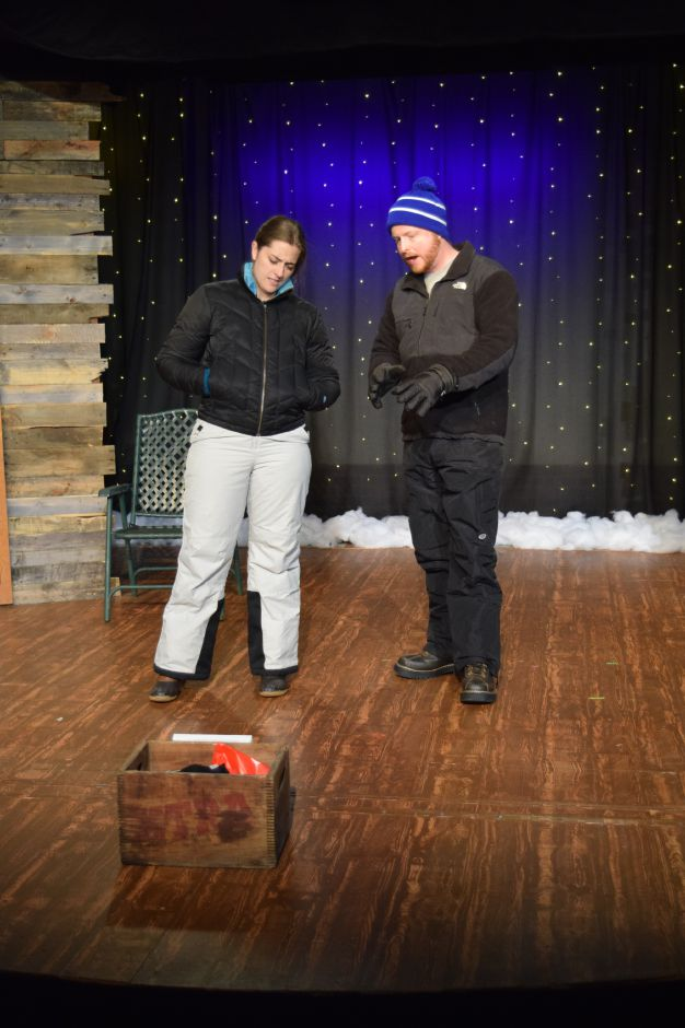 "Katie Kirtland and Jim Kane rehearse for the Castle Craig Players latest production, ""Almost, Maine,"" on Thursday, Nov. 7, 2019. The play opens Nov. 8 and runs through Nov. 17 in Meriden. 