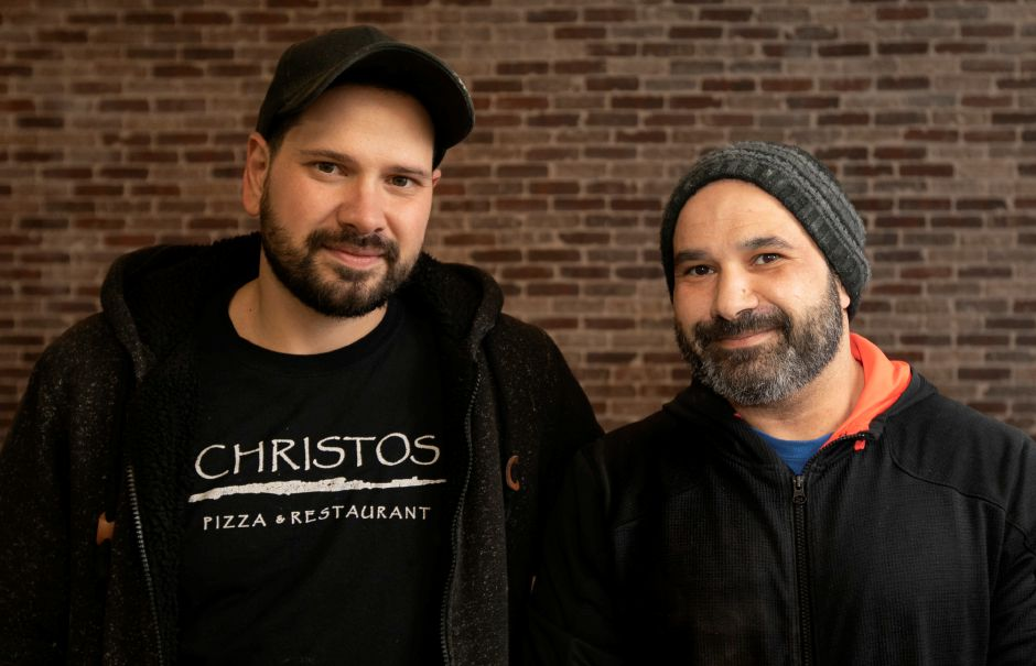 Christos Constanti, left, and brother George Constanti, owners of Fuoco, a new coal-fired pizza restaurant under construction at 461 W. Main St. in Cheshire, Mon., Feb. 10, 2020. Dave Zajac, Record-Journal