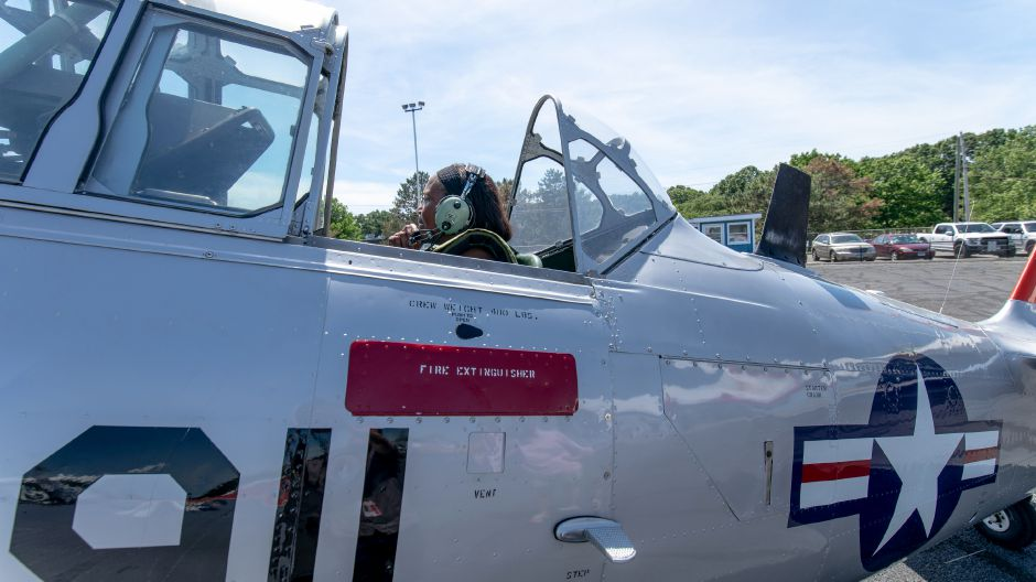 Jannett Johnson prepares for take off in a North American AT-6A Texan during the Wings and Wheels car and air show at Robertson Airport in Plainville on June 8, 2019. | Devin Leith-Yessian/Plainville Citizen