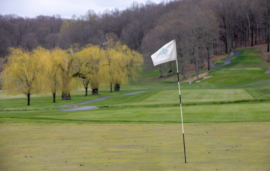 The 18th green at Hunter Golf Club in Meriden, Mon., Apr. 27, 2020. The course will reopen on Tuesday. Golfers will need to make a tee time in advance. The course's locker rooms, clubhouse, and pro shops will remain closed. Dave Zajac, Record-Journal