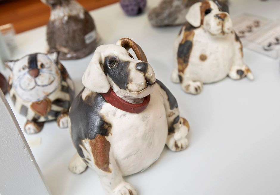 Dog and cat ceramics by artist Sara Meadows on display as part of The Leap Year Show at Gallery 53 on Colony Street in Meriden, Thurs., Feb. 20, 2020. Dave Zajac, Record-Journal