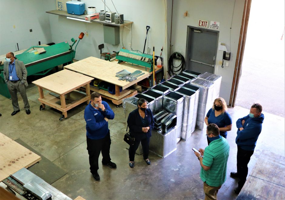 Douglas Mechanical Services celebrated its expansion on March 7, 2021. The Berlin business offersheating, air conditioning, ventilation, and remodeling services and now produces its own sheet metal | Nadya Korytnikova, Record-Journal.