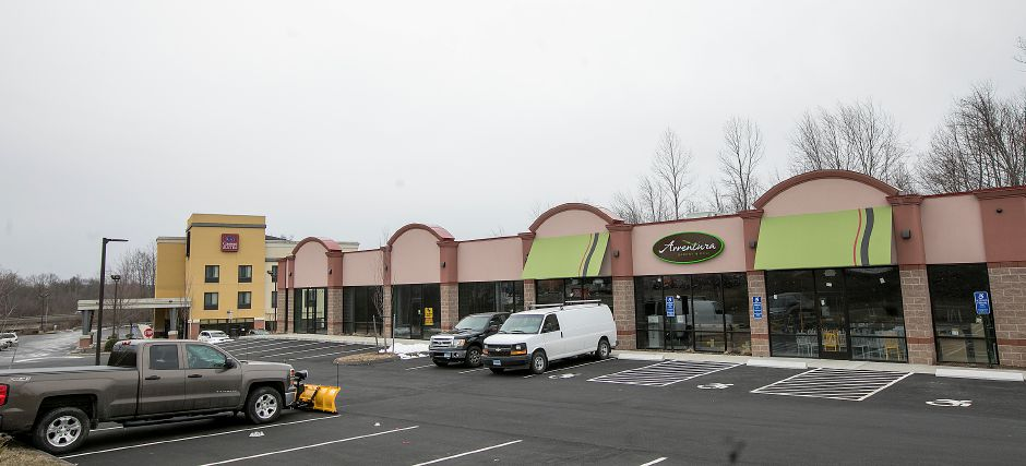 Proposed location for a medical marijuana dispensary at 30 Knotter Dr. between Avventura Bakery & Deli, right, and Comfort Suites, left, in Southington, Wednesday, March 21, 2018. Dave Zajac, Record Journal