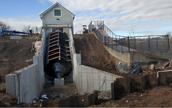 The Archimedes Screw at Hanover Dam in Meriden, Monday, February 6, 2017. The 20-ton screw was lowered into position in December. The site will remain under construction for several weeks.  | Dave Zajac, Record-Journal