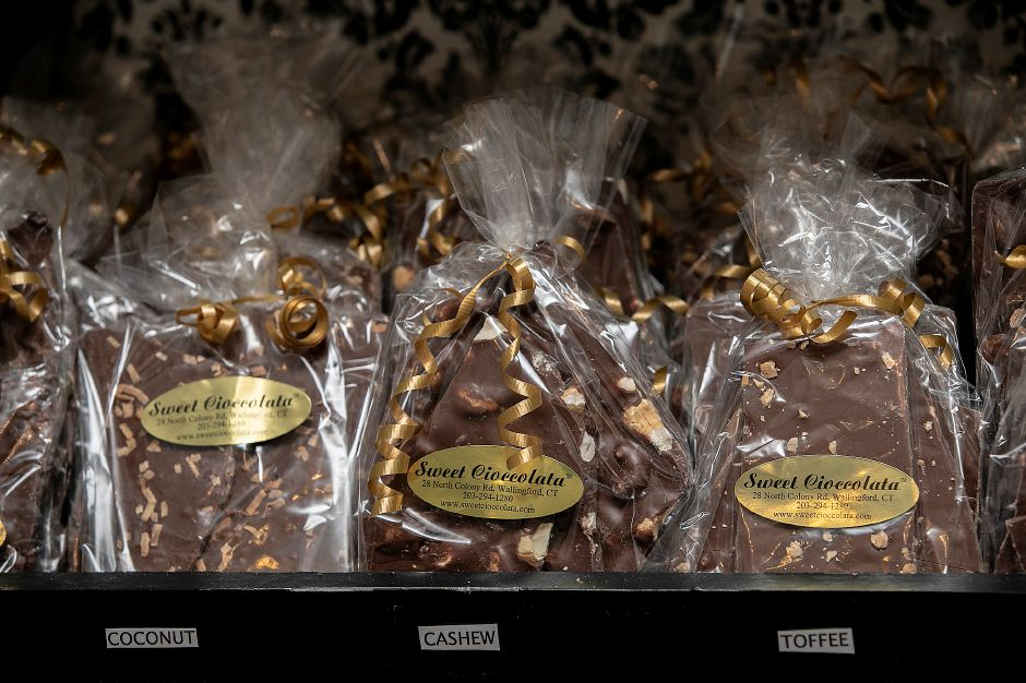 Chocolate bark in several varieties, a customer favorite at Sweet Cioccolata, 28 N. Colony Rd., Wallingford, Thurs., Feb. 6, 2020. Dave Zajac, Record-Journal