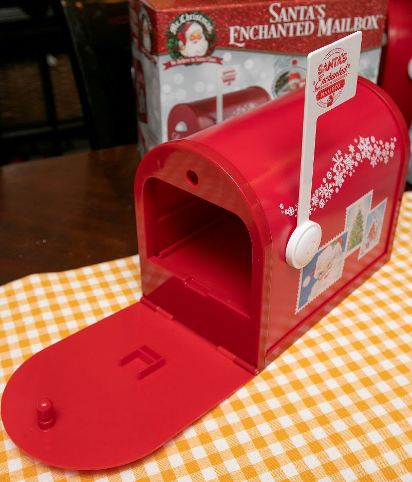 """Santa's Enchanted Mailbox"" created by Chris Cirri, of Wallingford. Letters to Santa ""magically"" disappear to the North Pole. Letters can also reappear in the mailbox."