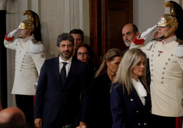 Chairman of the Lower Chamber Roberto Fico leaves after meeting Italian President Sergio Mattarella, in Rome, Wednesday, Aug. 21, 2019. One day after Giuseppe Conte resigned as premier, President Sergio Mattarella started receiving political leaders to explore options for the way forward. (AP Photo/Gregorio Borgia)