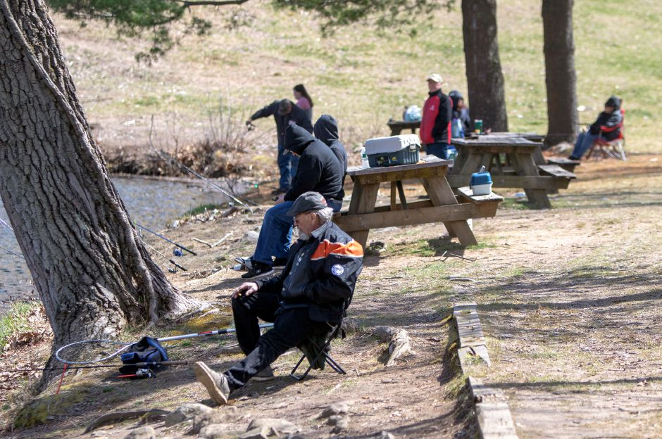 Fishermen keep their distance as they fish at Wharton Brook State Park in Wallingford on Wednesday, April 1, 2020. Aaron Flaum, Record-Journal