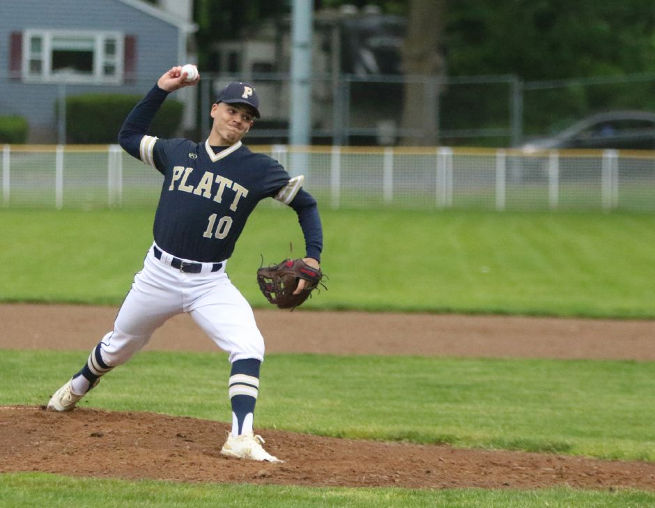 Platt senior right-hander Joe Salafia fires in a strike during Tuesday's first-round Class L state tournament game against Startford at Ceppa Field. | Spencer Davis, Record Journal