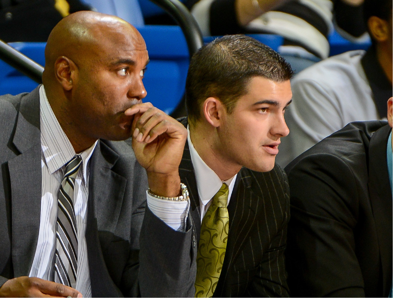 Mike Papale and Scott Burrell, shown here coaching Quinnipiac, are the new coach and head coach at Southern Connecticut State University. Papale, of Wallingford, was officially named Burrell's assistant on Tuesday. | Photo courtesy of Southern Connecticut State University.
