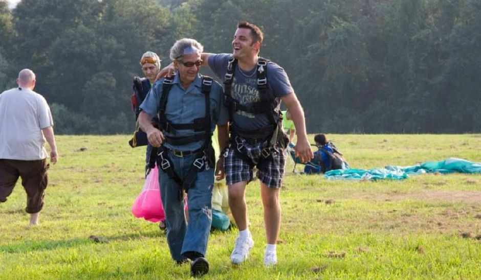 Art Rich (left) with his son Jason Rich after a recent skydiving excursion. Photo submitted by Angel Rich.