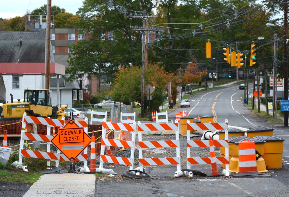 The Center Street bridge in Wallingford on Thursday, Oct. 26, 2017. Local business owners say construction on the bridge replacement project, originally scheduled to be completed in November 2018, has been temporarily halted. | Bryan Lipiner, Record-Journal