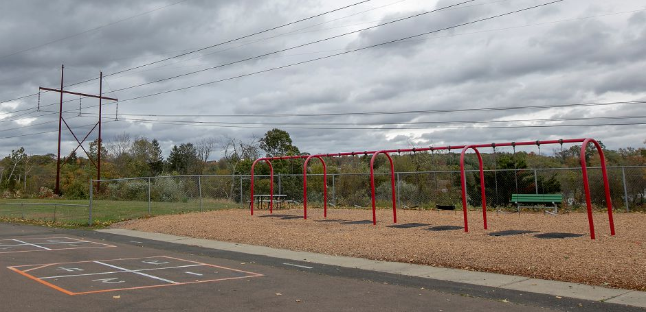The playground at Pond Hill Elementary School next to power lines, Thurs., Oct. 17, 2019. After a request by Eversource, the Board of Education approved funding to move and rebuild the playground.Dave Zajac, Record-Journal