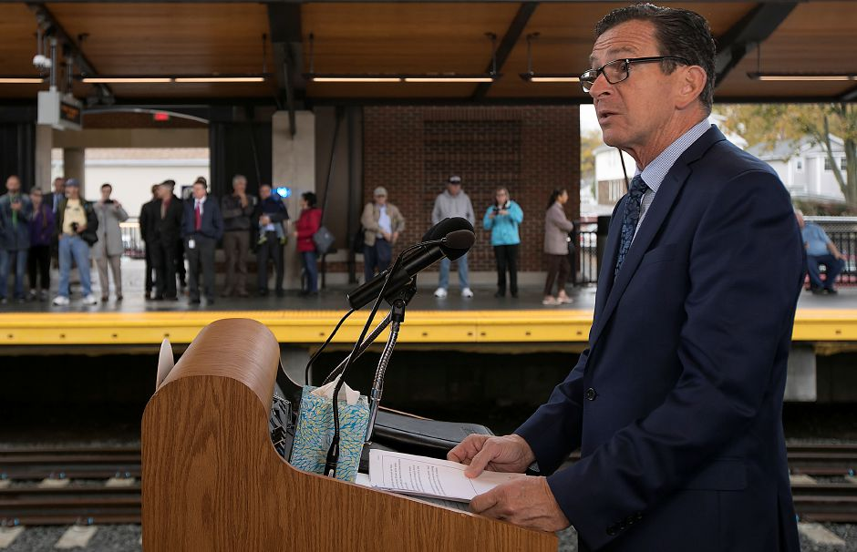 Gov. Dannel P. Malloy speaks during the official opening of the Wallingford train station, Monday, Nov. 6, 2017. | Dave Zajac, Record-Journal