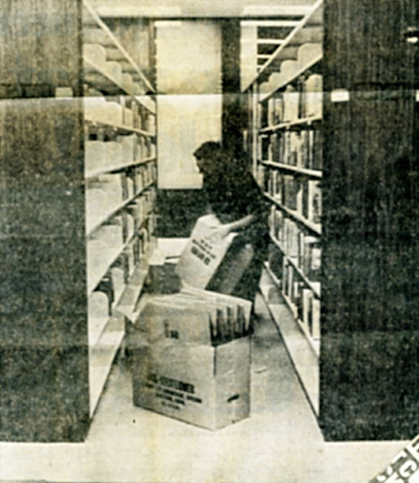 Moving into the new library, May 1973.