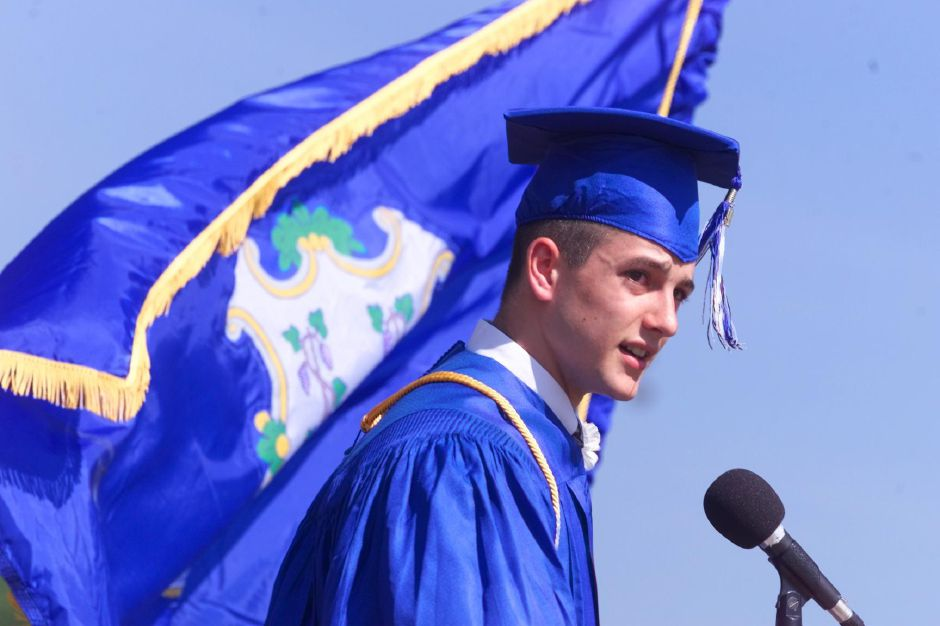 "RJ file photo - Southington High School class president James McLaughlin delivers his speech called ""The Harder You Work, The Luckier Yo Get"" during graduation ceremonies at Southington High School June 26, 1999."