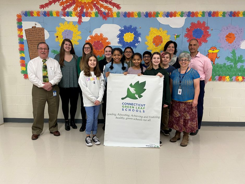 SOUTHINGTON - Kennedy Middle School Students and staff receive recognition from Connecticut Outdoor & Environmental Education Association  as  CT Green LEAF School for their efforts to implement environmentally sound and sustainable practices at the school, including reducing school lunch waste.