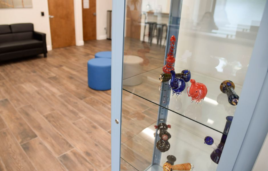 Glassware paraphernalia on display at Willow Brook Wellness Center, a medical marijuana dispensary on East Main Street in Meriden, on June 13, 2019. | Bailey Wright, Record-Journal