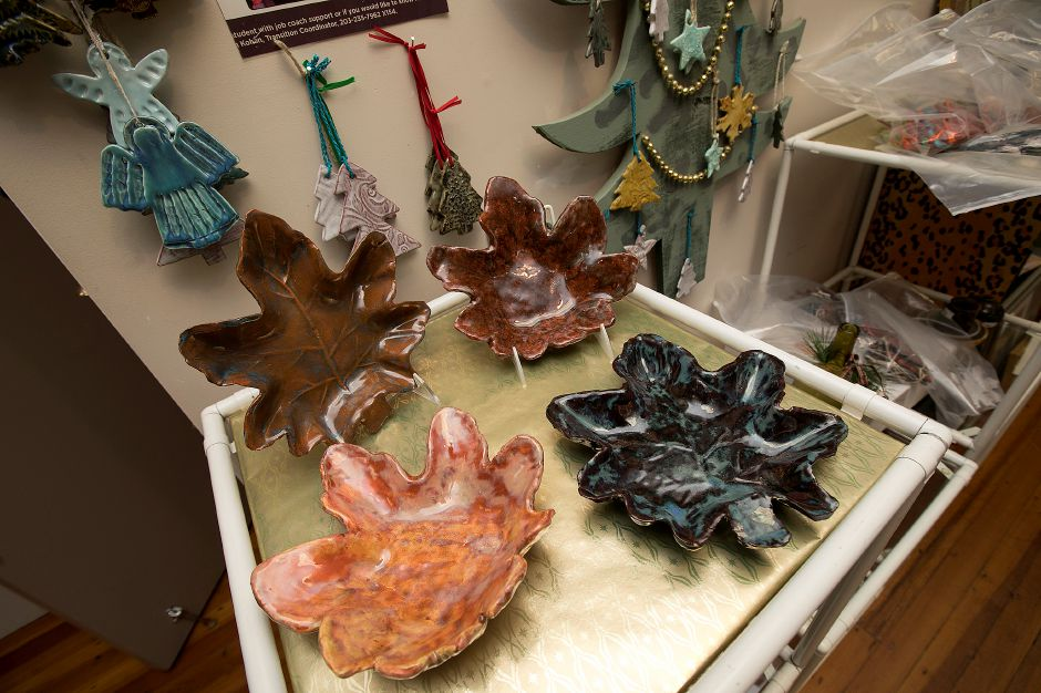 Ceramic items for sale at Gallery 53 for its annual Holiday Fair, Monday, Nov. 20, 2017. Gift items also include jewelry, scarves, ornaments, quilts, paintings and pet gifts. The fair runs Nov. 24- Dec. 24. | Dave Zajac, Record-Journal DAVE ZAJAC