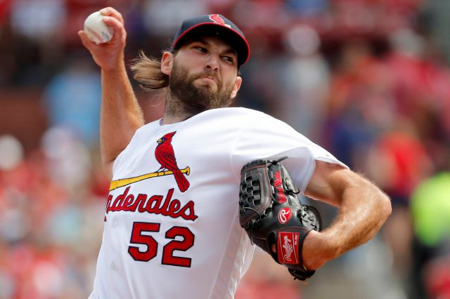 FILE - In this Sept. 15, 2019, file photo, St. Louis Cardinals starting pitcher Michael Wacha throws during the first inning of a baseball game against the Milwaukee Brewers in St. Louis. The former All-Star right-hander and the New York Mets finalized a $3 million, one-year contract that includes $8 million in performance bonuses on Friday, Dec. 13, 2019. Wacha can earn $7 million under a points system and $1 million for relief appearances. (AP Photo/Jeff Roberson, File)