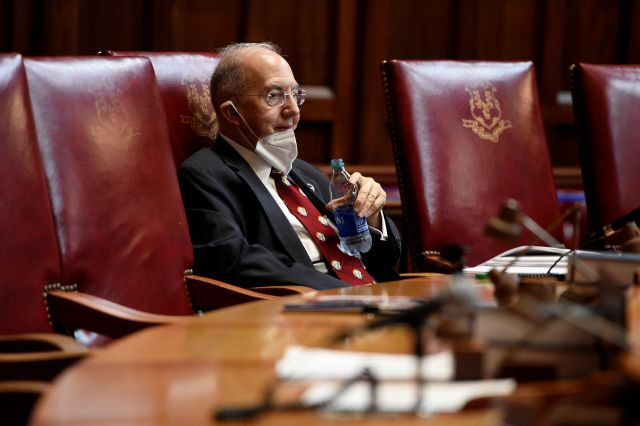 Democratic Senate President Pro Tempore Martin Looney listens during special session at the State Capitol, Tuesday, July 28, 2020, in Hartford, Conn. (AP Photo/Jessica Hill)