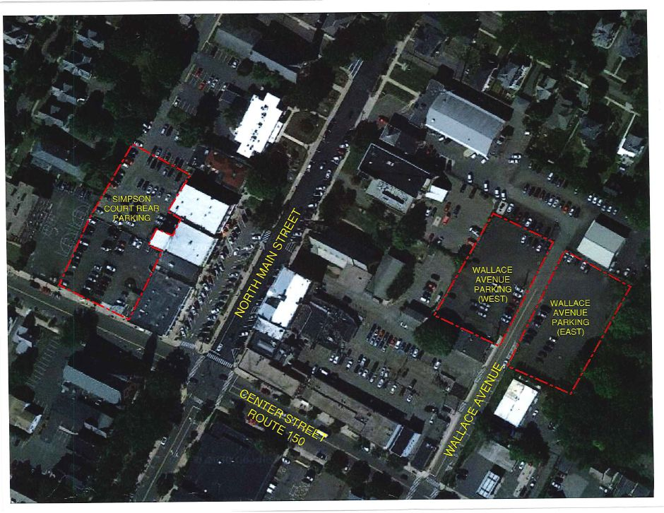 A map of the Simpson Court rear parking lot and Wallace Avenue parking lot locations, as of Jan. 4, 2021. | Courtesy of the Town of Wallingford