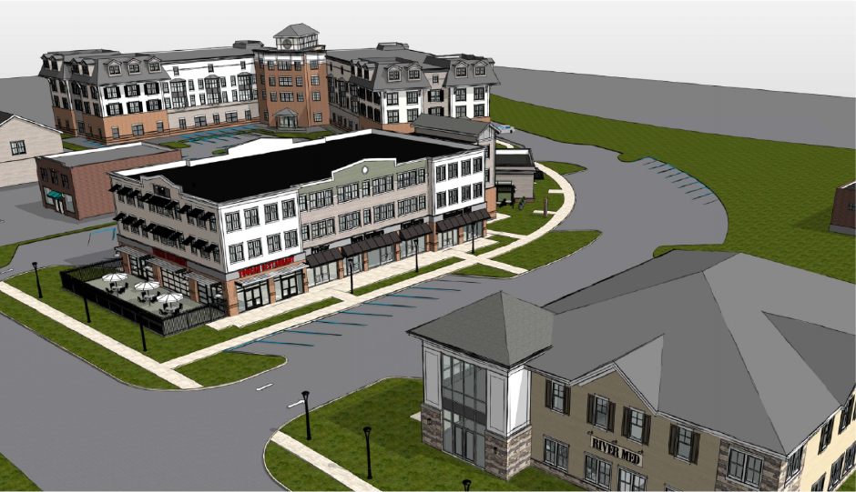 A rendering of the mixed use development that would build five buildings and a boulevard adjacent to the Berlin train station. The project's site plan and special permit were approved during the Sept. 19, 2019 Planning and Zoning Commission meeting, where the renderings were also displayed. | Image courtesy of Newport Realty