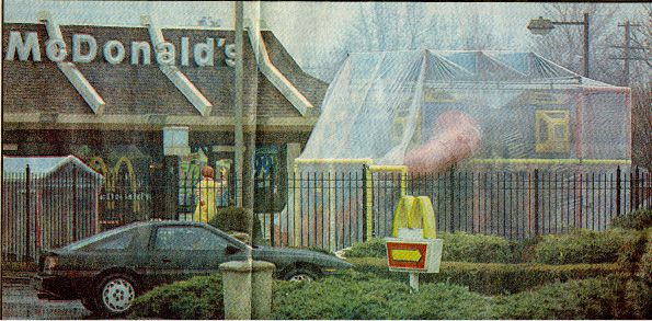 January 1993: Plastic sheeting covers the outdoor playground at McDonald