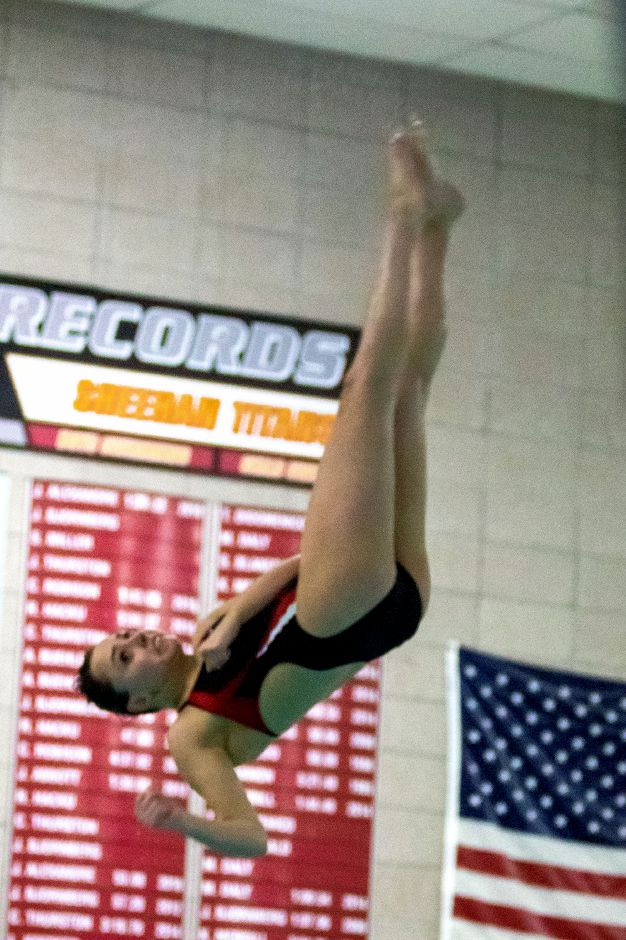Lyman Hall/Coginchaug's Elyse Boothroyd broke her own Coginchaug six-dive record with a winning score of 241.0 in Wednesday's rivalry meet with Sheehan at the Sheehan pool.  Aaron Flaum, Record-Journal