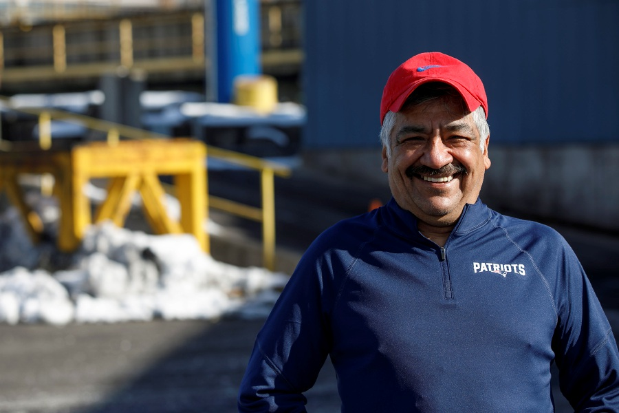 Alfonso Serna Ruiz smiles on his last day of work Friday at Nucor Steel Connecticut, 35 Toelles Road in Wallingford. Serna Ruiz retired after 35 years of service at the company. Dave Zajac, Record-Journal