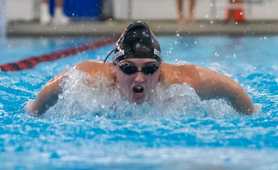 Nora Bergstrom, a three-year standout in the distance freestyles, is one of seven Cheshire High School seniors going on to swim in college. Bergstrom has accepted an athletic scholarship from Colgate University.