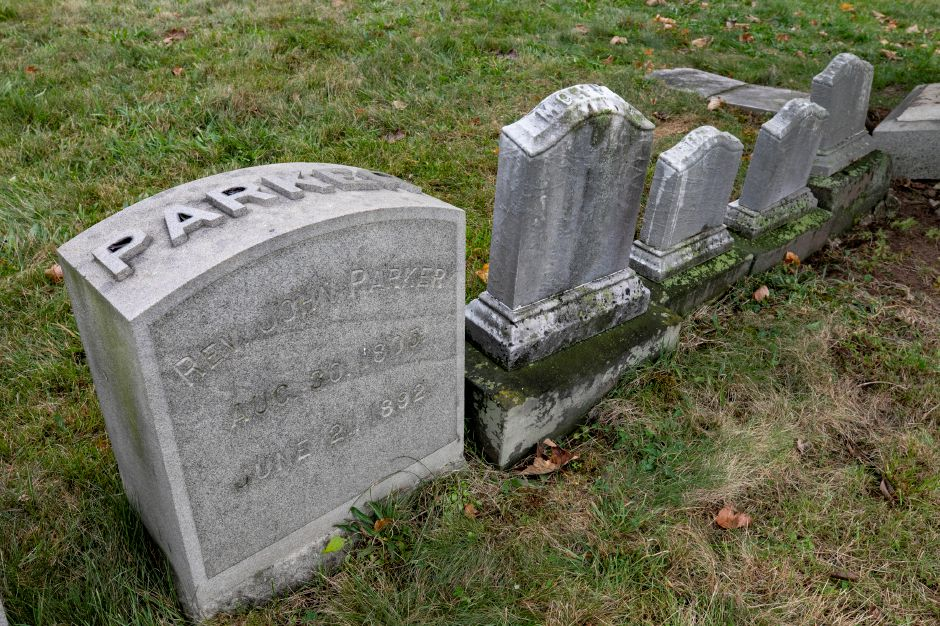 Memorial of Rev. John Parker, the first worshipful master for Meridian Lodge No.77 at East Cemetery in Meriden, Mon., Oct. 12, 2020. Meriden